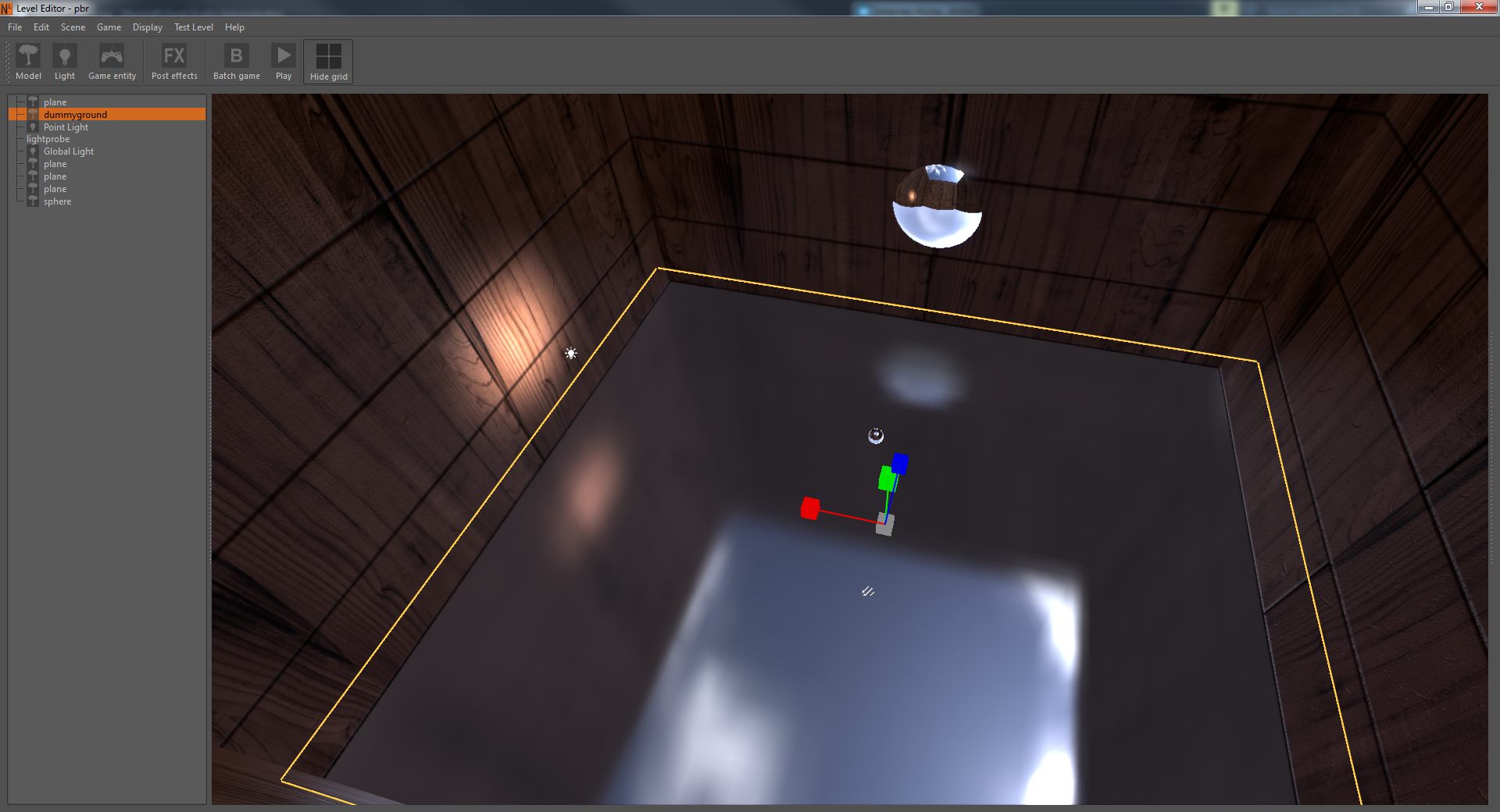 This image shows how reflections are projected inside scene.